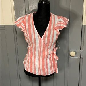 NWT Old Navy Pink Striped Wrap Front Linen Blouse